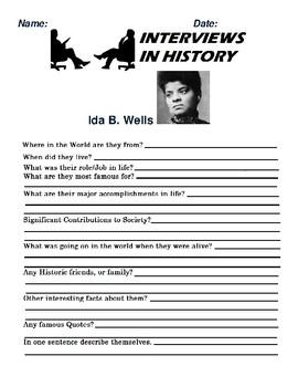 Ida B. Wells Research and interview Assignment