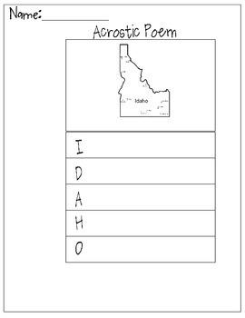 Idaho Acrostic Poem
