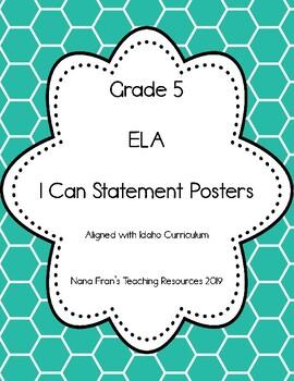 Idaho Grade 5 English Language Arts I Can Statement Posters