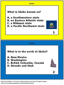 Idaho Hello USA Task Cards and Worksheet