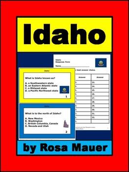 Idaho Hello USA Task Cards and Worksheet