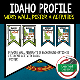 Idaho History Word Wall, State Profile, Activity Pages