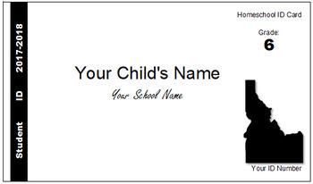 Idaho (ID) Homeschool ID Cards for Teachers and Students