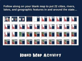 Idaho Map Activity- fun, engaging, follow-along 20-slide PPT