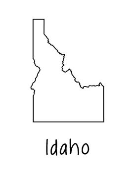 Idaho Map Coloring Page Craft - Lots of Room for Note-Taking & Creativity