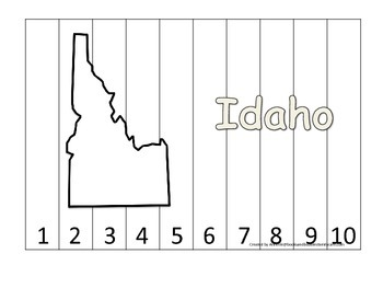 Idaho Number Sequence Puzzle.  Learn the States preschool printable game.