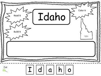 Idaho Read it, Build it, Color it Learn the States preschool worksheet.