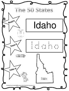 Idaho Read it, Trace it, Color it Learn the States preschool worksheet.