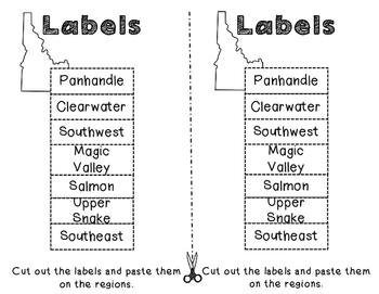 Idaho Regions- A cut and paste activity