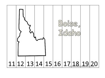 Idaho State Capitol Number Sequence Puzzle 11-20.  Geography and Numbers.