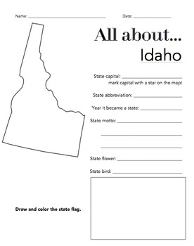 Idaho State Facts Worksheet: Elementary Version