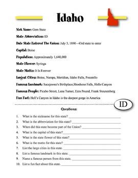 Idaho State Information & Worksheet