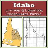 Idaho State Latitude and Longitude Coordinates Puzzle - 45 Points to Plot