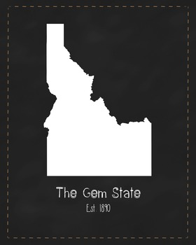 Idaho State Map Class Decor, Government, Geography, Black and White Design