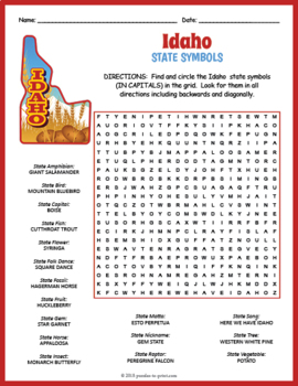 Idaho State Symbols Word Search Puzzle