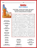 IDAHO State Symbols Word Search Puzzle Worksheet Activity