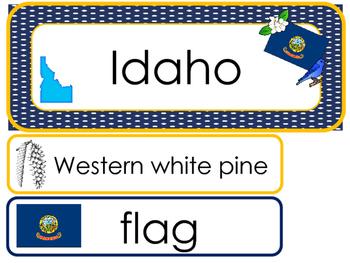 Idaho State Word Wall Bulletin Board Set. Geography Curriculum.