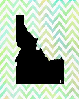 Idaho Chevron State Map Class Decor, Government, Geography