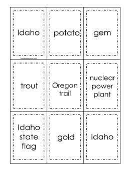 Idaho themed Memory Matching and Word Matching preschool curriculum game.