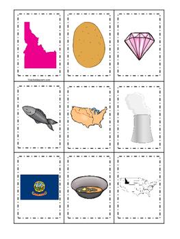 Idaho themed Memory Matching and Word Matching preschool curriculum game.