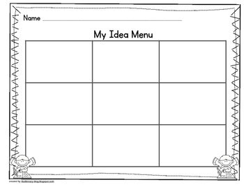 Idea Menu and Writing Planner for K-2 Writing Workshop