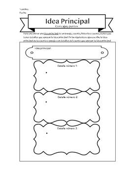Idea Principal con Caja y Puntos/Main Idea with Box and Bullets Spanish