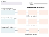 Idea Principal y Detalles - Main Idea & Details - Graphic Organizer