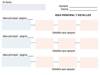 Idea Principal y Detalles - Main Idea & Details - Graphic Organizer