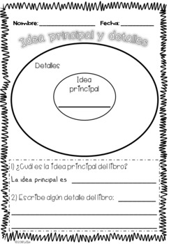 Idea Principal y Detalles / Main Idea and Supporting Details Graphic Organizers