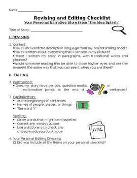 Idea Splash Checklist-Personal Narrative Writing