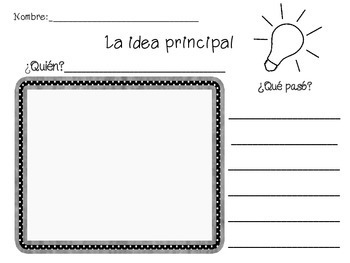 Idea Principal Main Idea Worksheet Spanish By Leigh Sanna Tpt