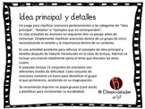 Idea principal y detalles - Juego para clasificar - Spanish Main Idea Game