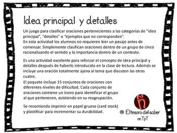 Idea principal y detalles - Juego para clasificar - Spanish Main Idea Game