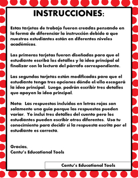 Idea principal - Main Idea and details Task Cards - Spanish