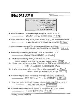 Ideal Gas Law II Worksheet