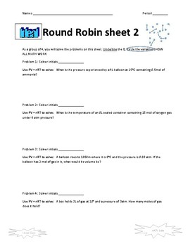 Ideal Gas Law Round Robin Activity