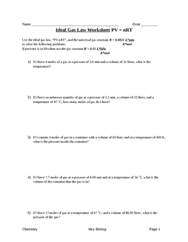 Ideal Gas Law Worksheet