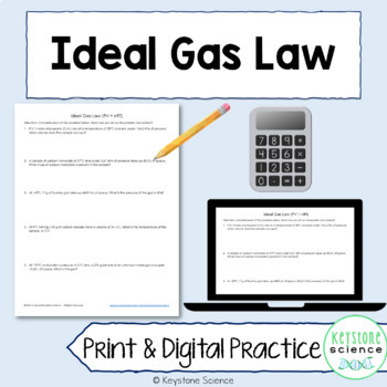 Ideal Gas Law Worksheet And Answer Key Chemistry By Keystone Science