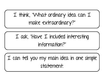 Ideas I CAN Statements