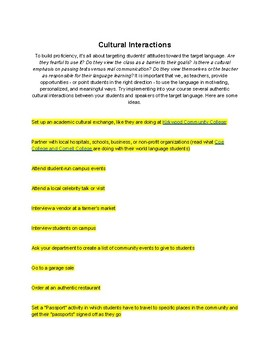 Ideas for Authentic Cultural Activities in the World Language Classroom