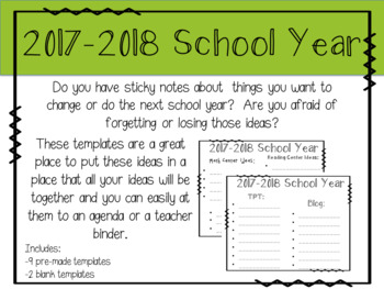 Ideas for Next Year Organizational Template
