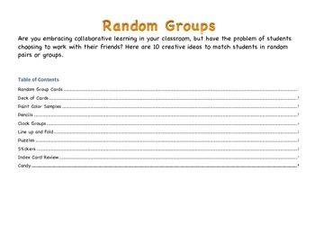 Ideas for Random Grouping