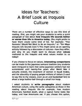 Native Americans: Ideas for Teachers: A Brief Look at Iroquois Culture