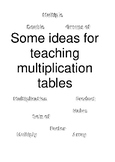 Ideas for Teaching Multiplication Tables