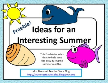 Ideas for an Interesting Summer - FREEBIE!