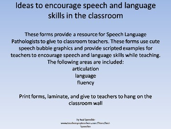 Ideas for teachers: Encouraging speech and language in the