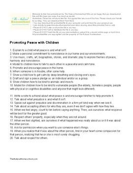 Ideas on How to Teach Kids about Peace {Printable List}