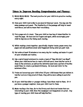 Ideas to Improve Reading Comprehension and Fluency