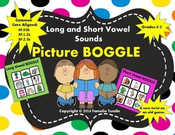 Idenitfying Vowel Sounds Picture BOGGLE Task Cards (Grades K-2)