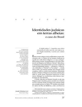 Identidades Judaicas em terras alheias: o caso do Brasil